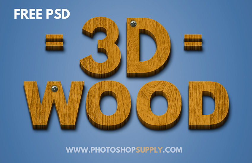 3d wood text effect in photoshop 1