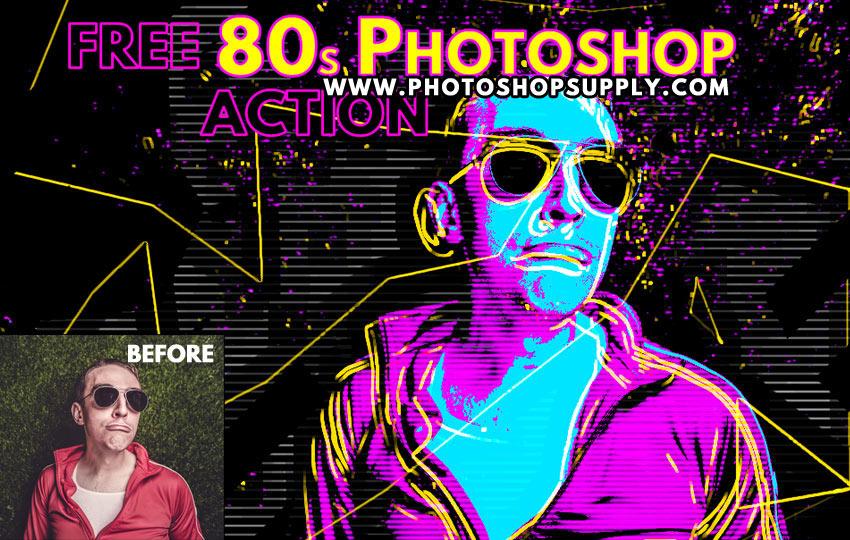 FREE) 80s Retro Poster | Photoshop Action - Photoshop Supply