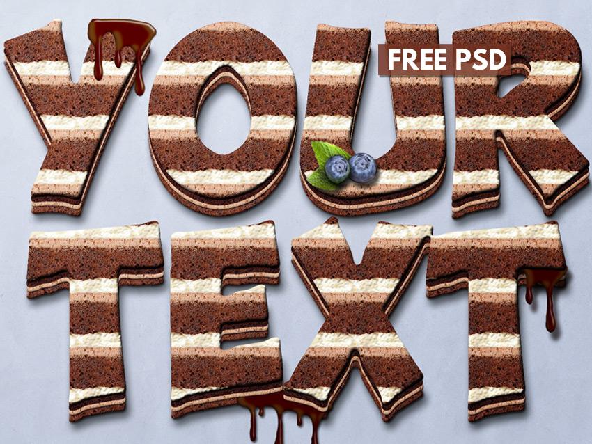 Chocolate Cake Photoshop Text Mockup Photoshop Supply