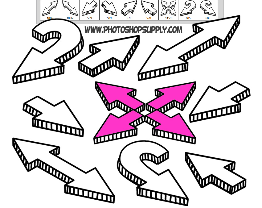 Hand Drawn Doodle Arrow Brushes for Photoshop Free