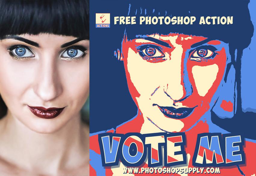 Posterized Portrait Photoshop Action Free