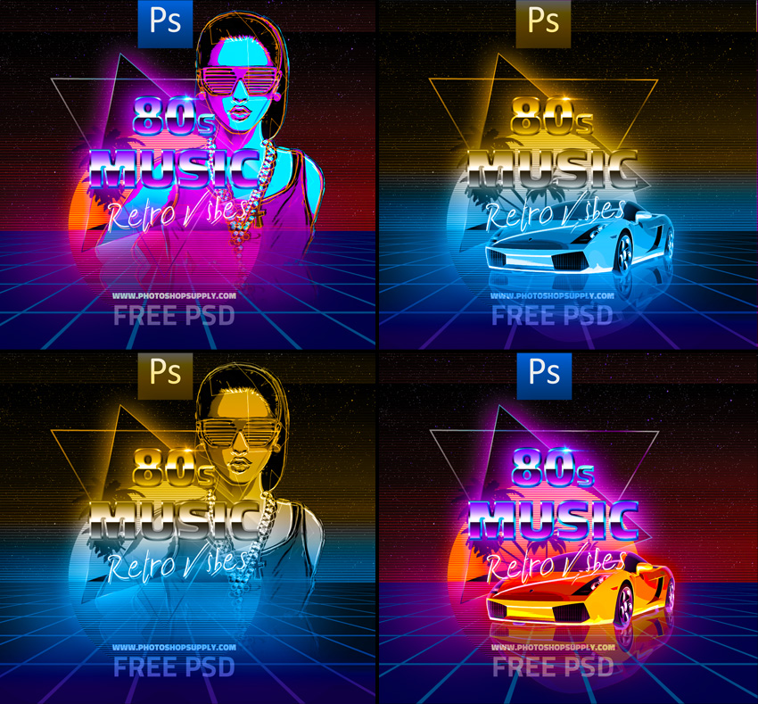 Free 80s Party Flyer Template