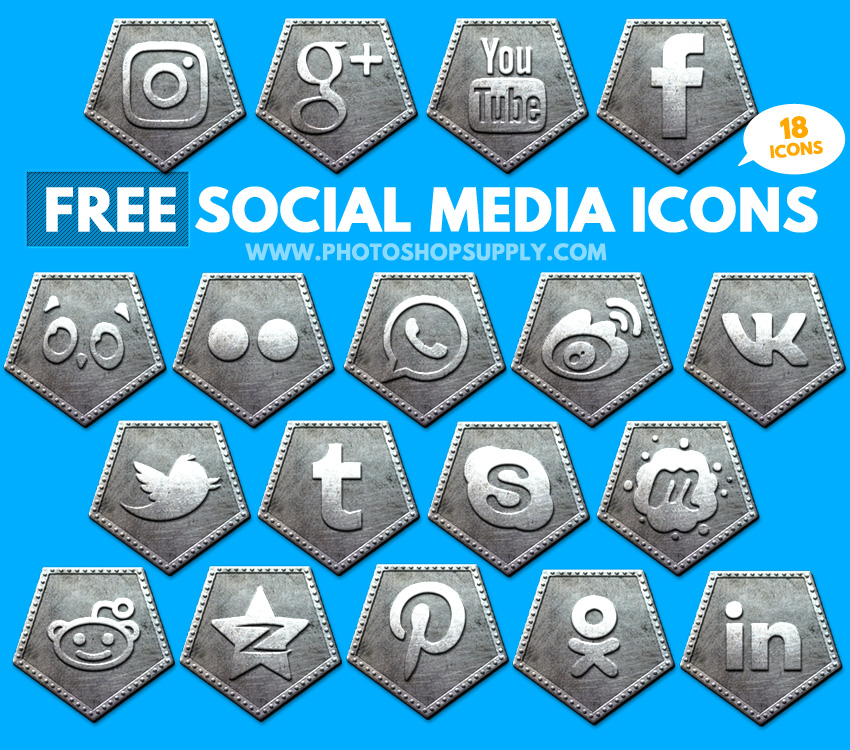 metal gold bronze social media icons free photoshop supply
