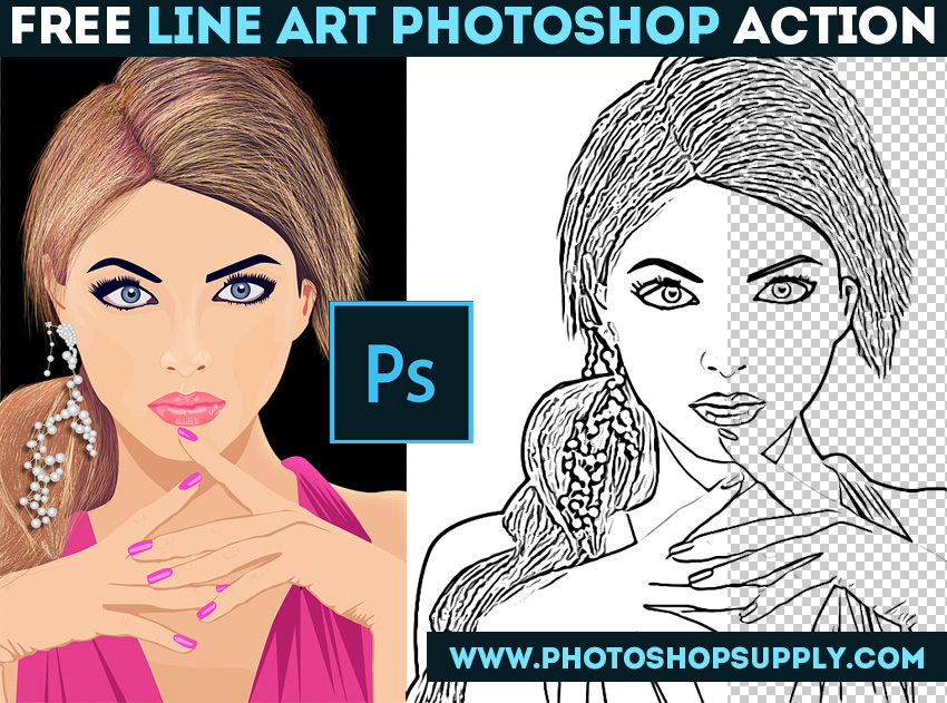 Photo to Line Art Photoshop Action Free