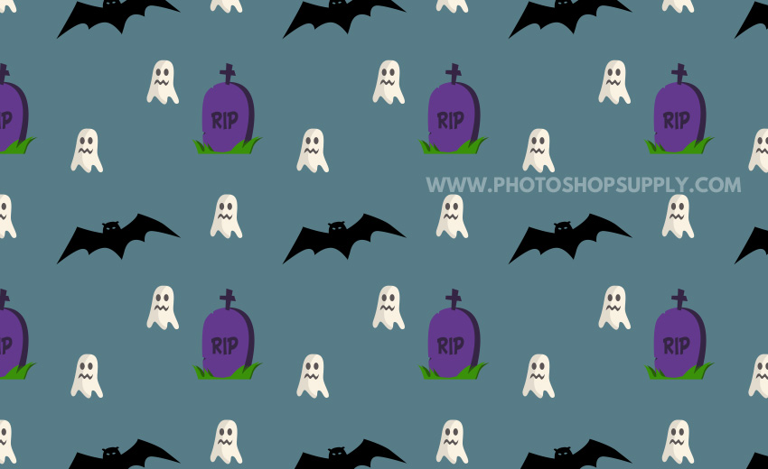 Halloween Text Pattern with Bats Tombstones and Ghosts