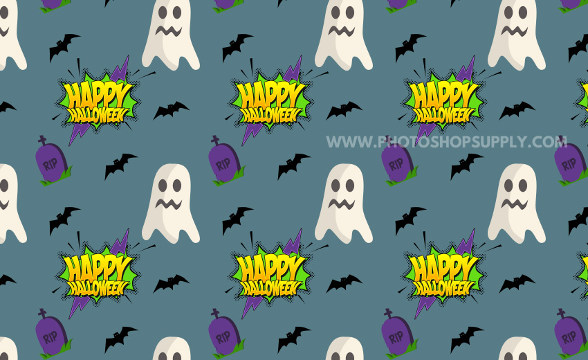 Halloween Text Pattern with Bats and Ghosts