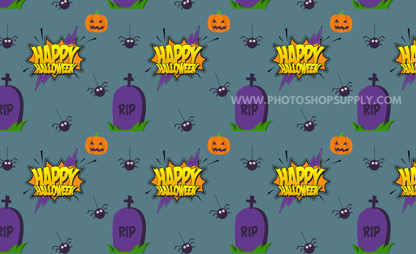 Halloween Text Pattern with Spiders and Tombstones