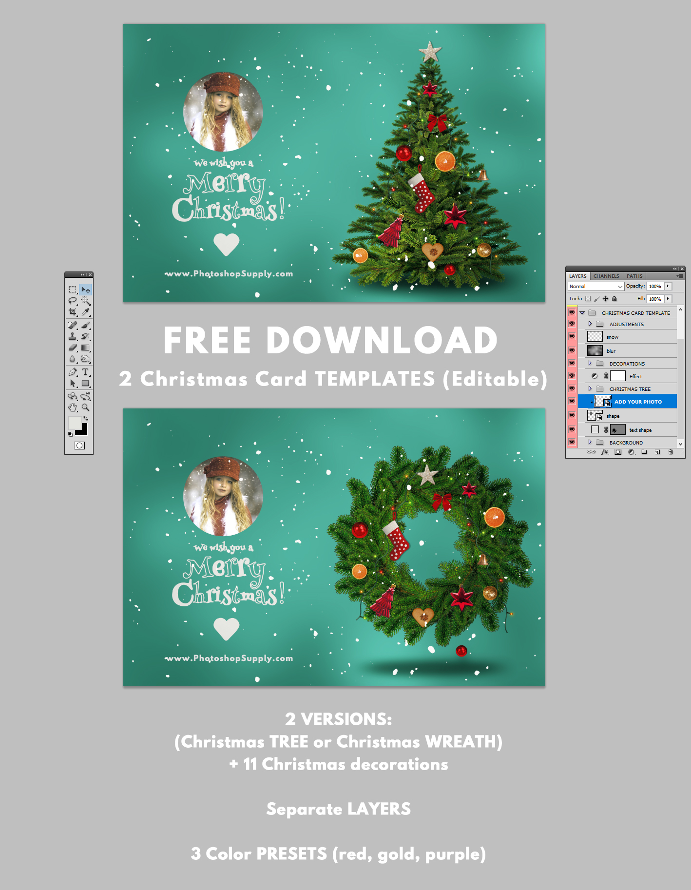 Christmas Cards Template from www.photoshopsupply.com