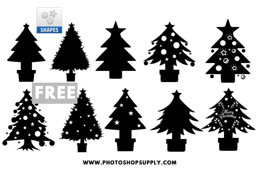 Christmas Tree Vector Image.Christmas Tree Template Shapes Photoshop Supply
