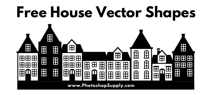 Row of Houses Silhouettes Vector
