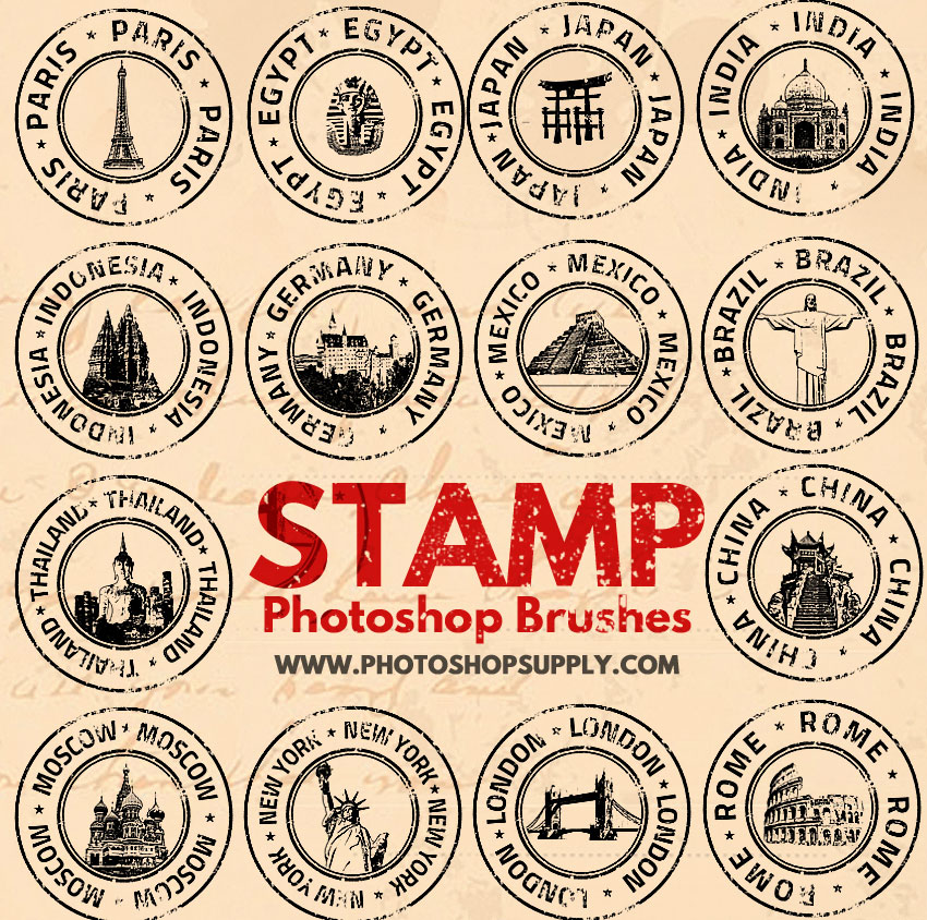 Rubber Stamp Photoshop Brushes